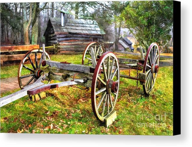 North Carolina Canvas Print featuring the photograph Vintage Wagon On Blue Ridge Parkway I by Dan Carmichael