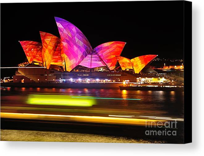 Photography Canvas Print featuring the photograph Vivid Sydney By Kaye Menner - Opera House ... Triangles by Kaye Menner