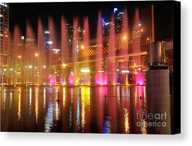 Photography Canvas Print featuring the photograph Vivid Sydney By Kaye Menner - Vivid Aquatique by Kaye Menner