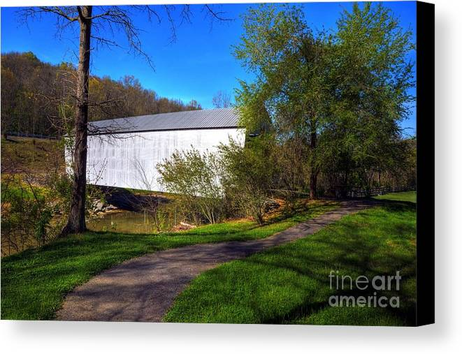 Landscapes Canvas Print featuring the photograph Walcott Covered Bridge 3 by Mel Steinhauer