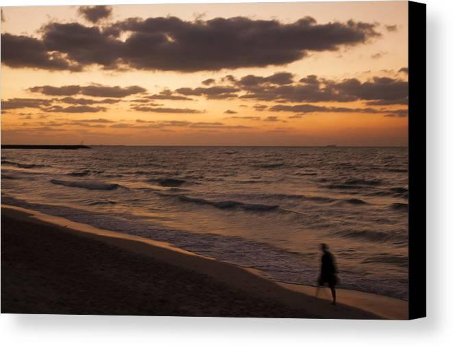 Landscape Canvas Print featuring the photograph Walking On The Beach by Shahram Shafieha