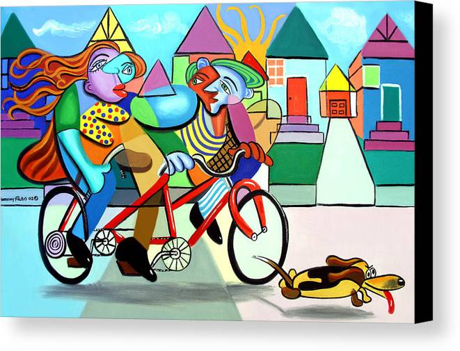 Walking The Dog Canvas Print featuring the painting Walking The Dog by Anthony Falbo