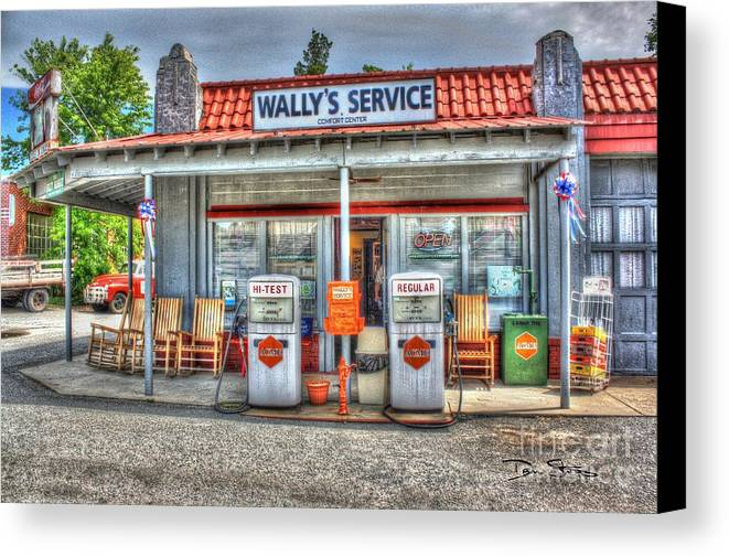 Vintage Canvas Print featuring the photograph Wally's Service Station by Dan Stone