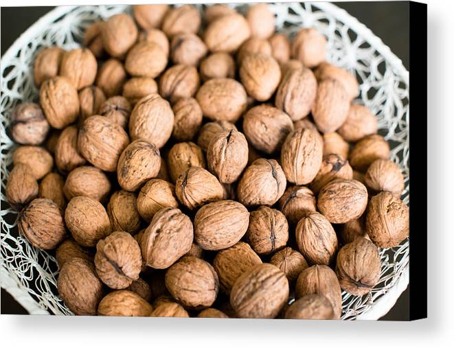 Walnut Canvas Print featuring the photograph Walnuts In A Basket by Frank Gaertner
