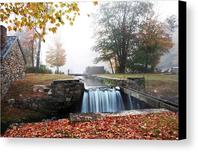 Waterfall Canvas Print featuring the photograph Waterloo Village Waterfall by Gale Miko