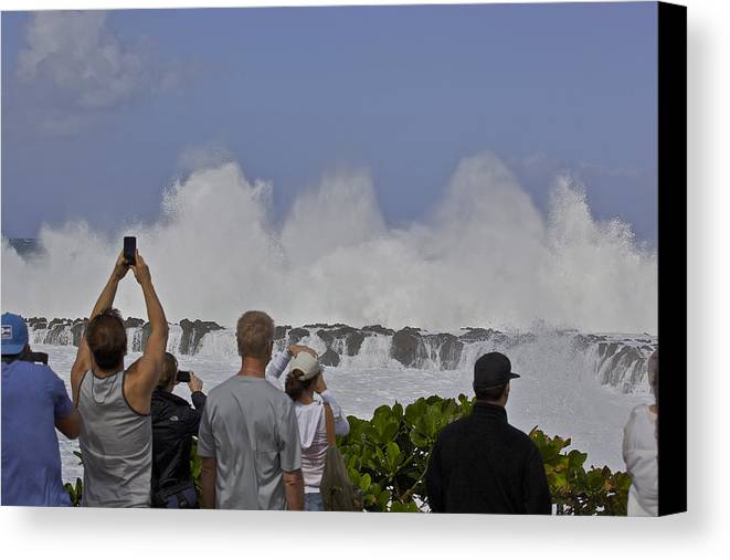 Waves Canvas Print featuring the photograph waves at Shark's Cove by Eddie Freeman