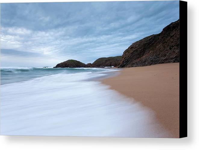 Outdoors Canvas Print featuring the photograph Waves Breaking At Murder Hole County by Peter McCabe