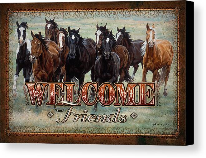Michelle Grant Canvas Print featuring the painting Welcome Friends Horses by JQ Licensing