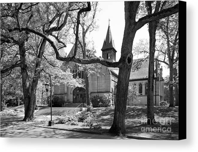 Houghton Chapel Canvas Print featuring the photograph Wellesley College Houghton Chapel by University Icons