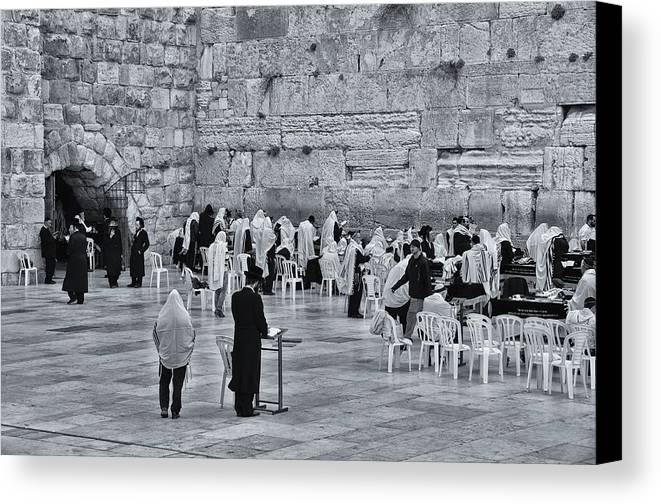 Israel Canvas Print featuring the photograph Western Wall Jerusalem Bw by Mark Fuller