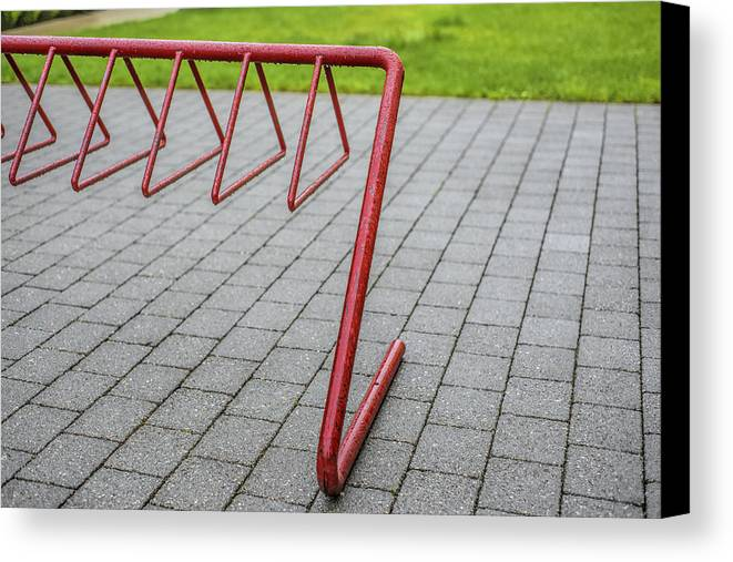 Fort Langley Canvas Print featuring the photograph Wet Red Bike Rack by Paul W Sharpe Aka Wizard of Wonders