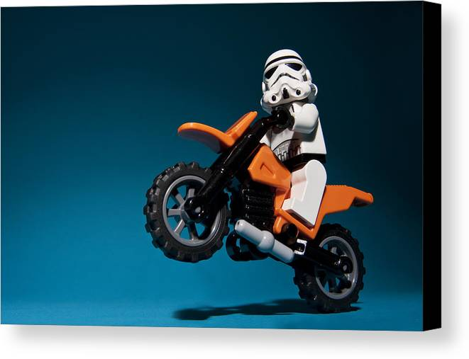 Lego Canvas Print featuring the photograph Wheelie by Samuel Whitton