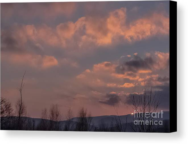 Landscape Canvas Print featuring the photograph When The Skies Are Burning by Lyudmila Prokopenko