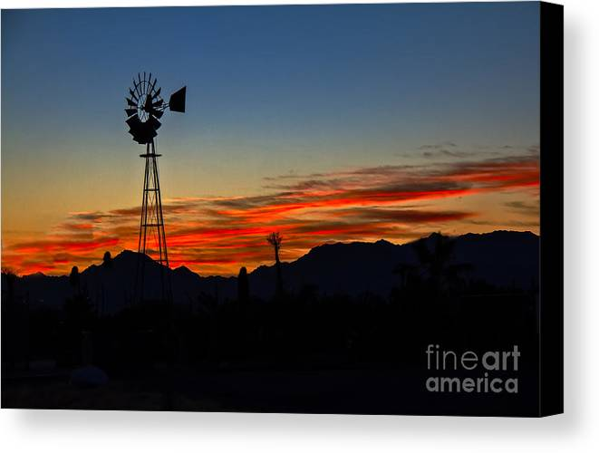 Desert Canvas Print featuring the photograph Windmill Silhouette by Robert Bales