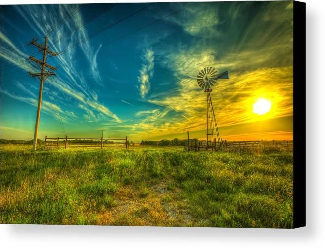 Windmill Canvas Print featuring the photograph Windmill Sunset by Caleb McGinn