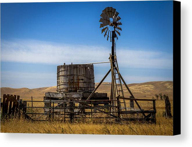 Windmill Canvas Print featuring the photograph Windmill Water Pump Station by Bruce Bottomley