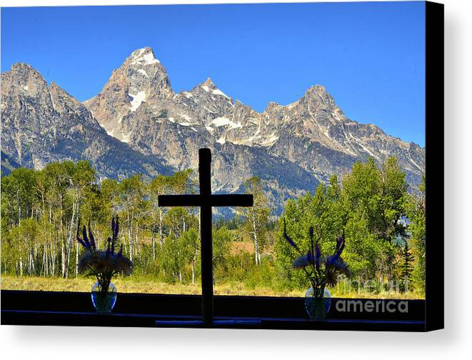Tetons Canvas Print featuring the photograph Window On The Tetons by David Burks