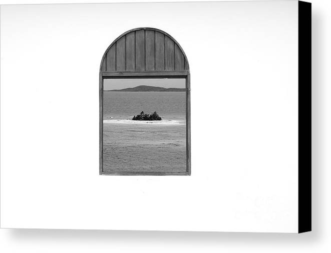 Puerto Rico Canvas Print featuring the photograph Window View Of Desert Island Puerto Rico Prints Black And White by Shawn O'Brien
