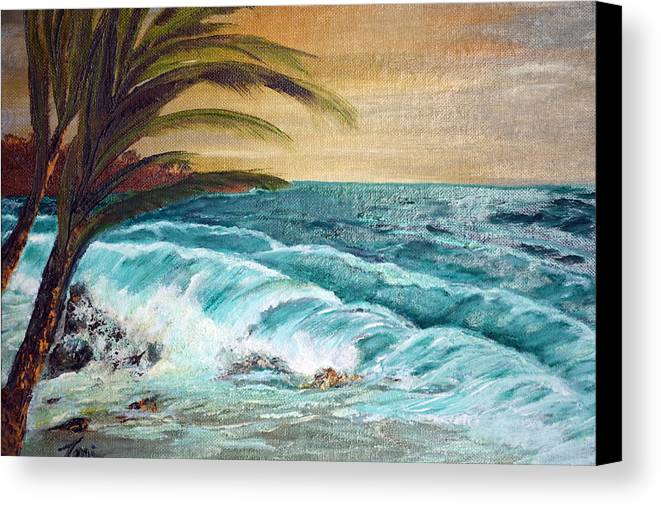 Landscape Canvas Print featuring the painting Windy Shore by Terri Duncan