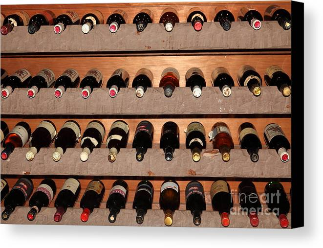 Wine Canvas Print featuring the photograph Wine Rack In The Private Dining Room At The Swiss Hotel In Sonoma California 5d24462 by Wingsdomain Art and Photography