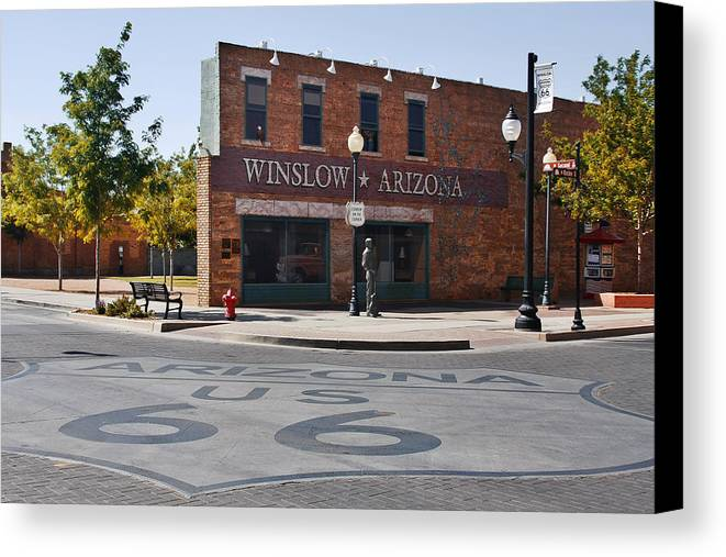 Famous Canvas Print featuring the photograph Winslow Arizona - Such A Fine Sight To See by Christine Till