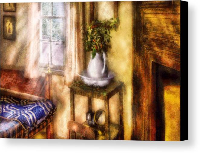 Savad Canvas Print featuring the digital art Winter - Christmas - Early Christmas Morning by Mike Savad