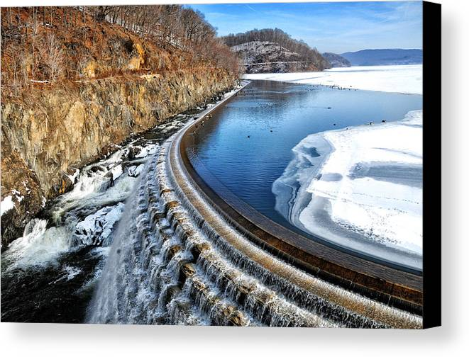 Landscape Canvas Print featuring the photograph Croton Dam At Winter by Barbara Budzinski