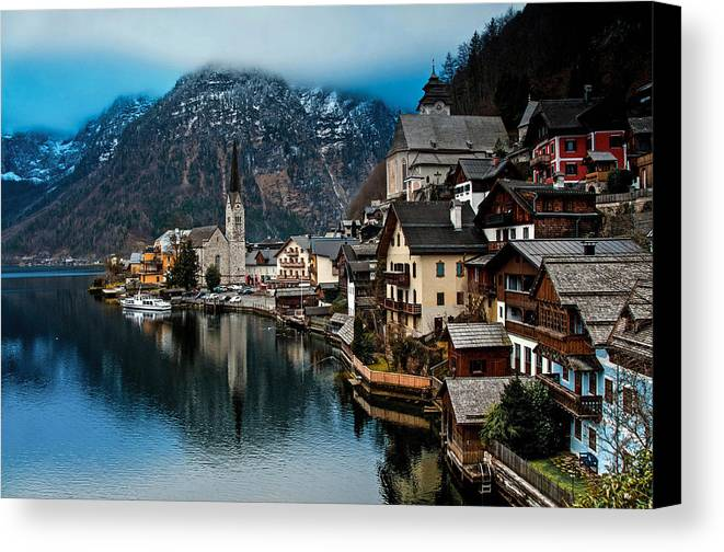 Austria Canvas Print featuring the photograph Winter In Hallstatt by Jim Southwell