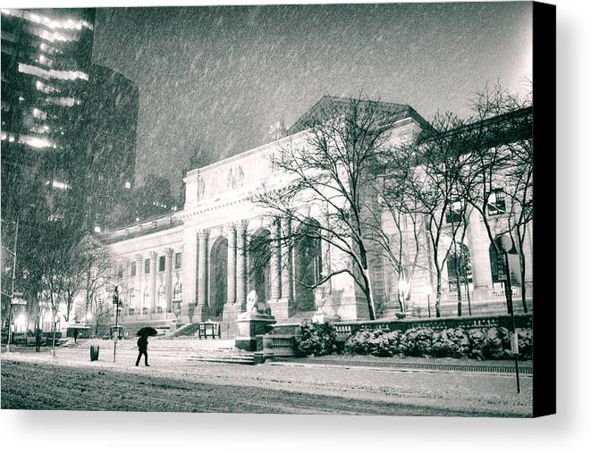 Nyc Canvas Print featuring the photograph Winter Night In New York City - Snow Falls Onto 5th Avenue by Vivienne Gucwa