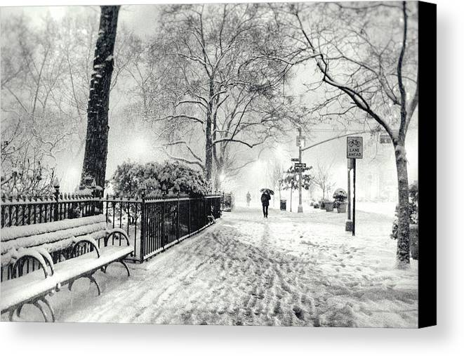 New York City Canvas Print featuring the photograph Winter Night - Snow - Madison Square Park - New York City by Vivienne Gucwa