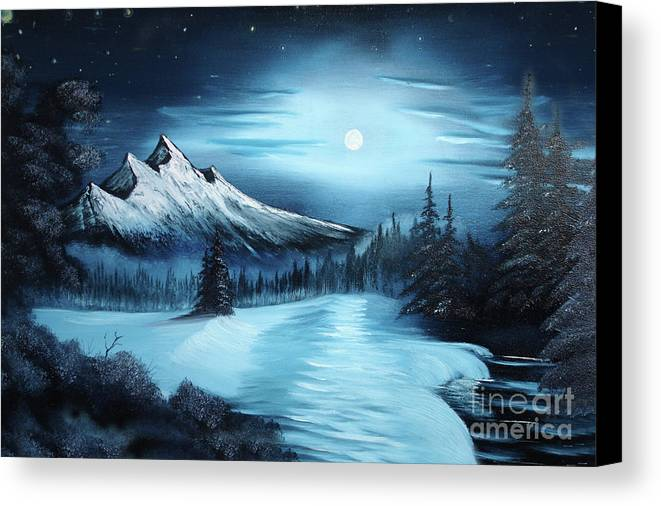 Painting Canvas Print Featuring The Winter A La Bob Ross By Bruno Santoro