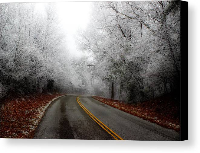 Frosted Roadway Canvas Print featuring the photograph Winter Road Trip by Michael Eingle