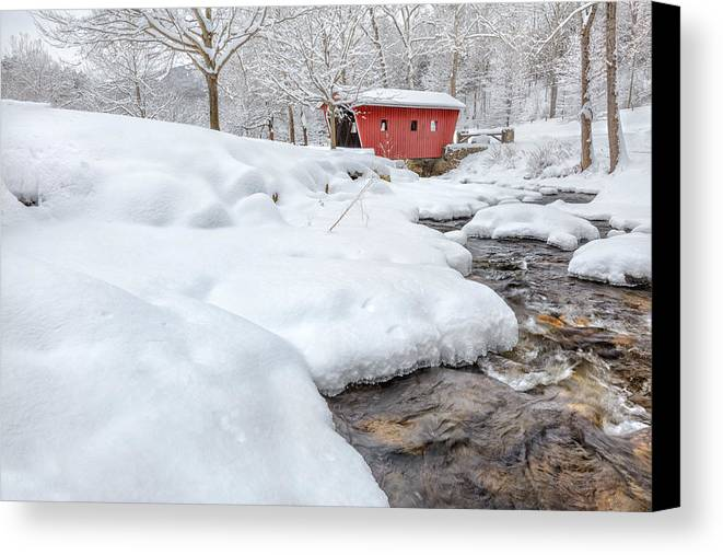 Covered Bridge Canvas Print featuring the photograph Winter Stream by Bill Wakeley