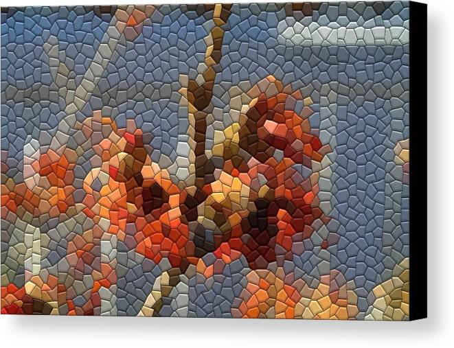Mosaic Canvas Print featuring the photograph Witch Hazel Diane by Kathryn Meyer