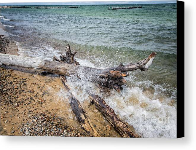 Michigan Canvas Print featuring the photograph Wood And Water by Timothy Hacker