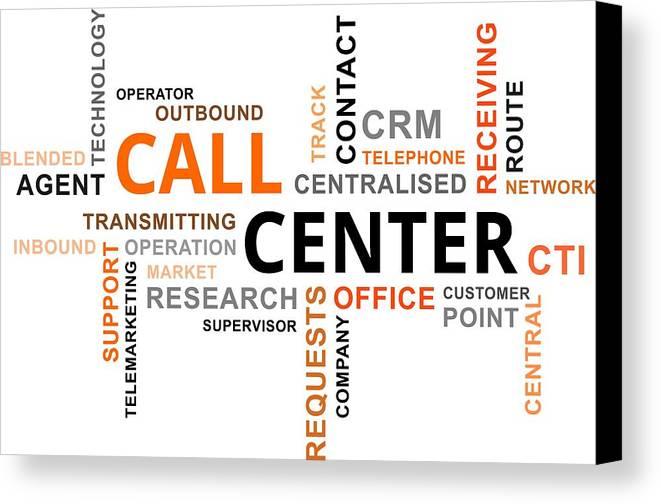 Call Canvas Print featuring the digital art Word Cloud - Call Center by Amir Zukanovic
