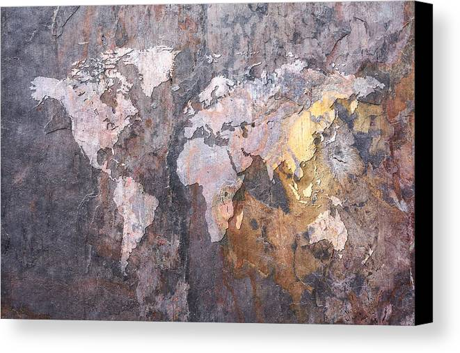 World map on stone background canvas print canvas art by michael world map canvas print featuring the digital art world map on stone background by michael tompsett gumiabroncs Gallery