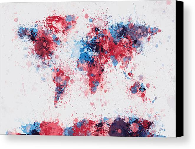 World map paint splashes canvas print canvas art by michael tompsett map of the world canvas print featuring the digital art world map paint splashes by michael gumiabroncs Choice Image