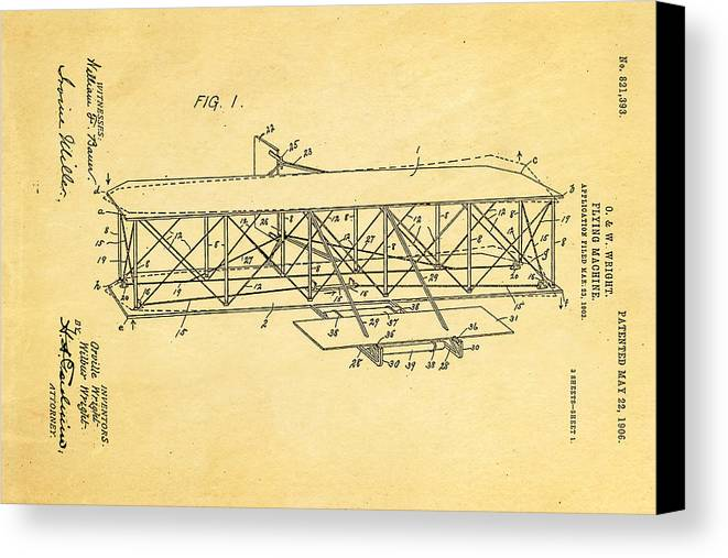 Aviation Canvas Print featuring the photograph Wright Brothers Flying Machine Patent Art 1906 by Ian Monk