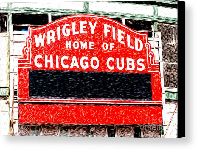 America Canvas Print featuring the photograph Wrigley Field Chicago Cubs Sign Digital Painting by Paul Velgos