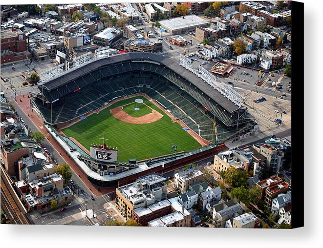 Chicago Cubs Canvas Print featuring the photograph Wrigley Field Chicago Sports 02 by Thomas Woolworth