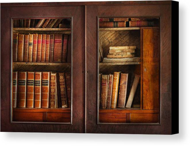 Old Fashioned Canvas Print featuring the photograph Writer - Books - The Book Cabinet by Mike Savad