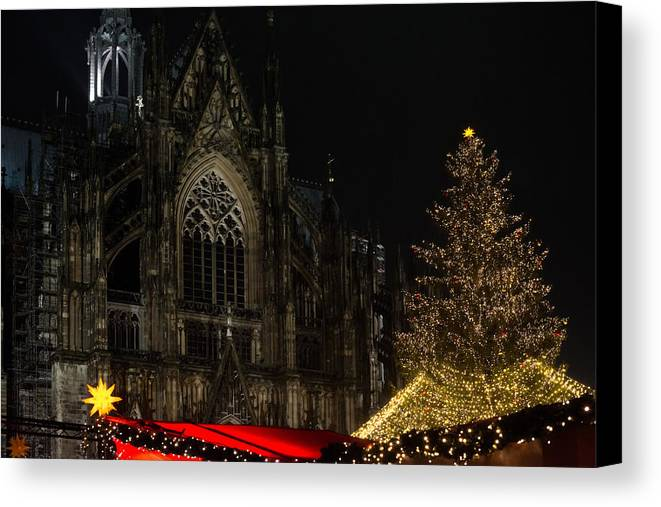 Cathedral Canvas Print featuring the photograph Xmas In Cologne by Frank Gaertner