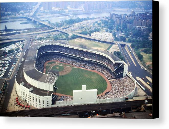 Marvin Newman Canvas Print featuring the photograph Yankee Stadium Aerial by Retro Images Archive