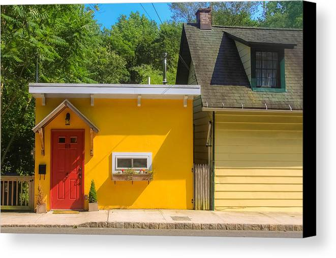 Red Door Canvas Print featuring the photograph Yellow Cottage by Kathleen McGinley