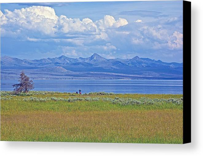Yellowstone Lake In Yellowstone National Park Canvas Print featuring the photograph Yellowstone Lake In Yellowstone National Park-wyoming- by Ruth Hager
