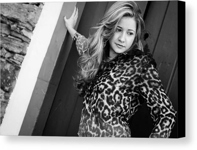 Beautiful Canvas Print featuring the photograph Young Woman In Black And White by Wislia Oliveira