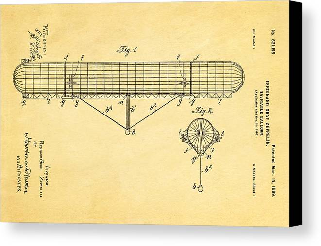 Aviation Canvas Print featuring the photograph Zeppelin Navigable Balloon Patent Art 1899 by Ian Monk