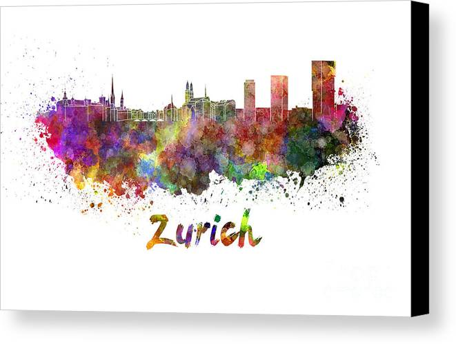 Zurich Skyline Canvas Print featuring the painting Zurich Skyline In Watercolor by Pablo Romero