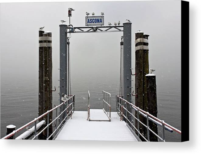 Travel Canvas Print featuring the photograph Ascona With Snow by Joana Kruse
